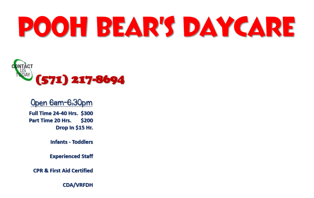 Pooh Bear's Daycare Rates
